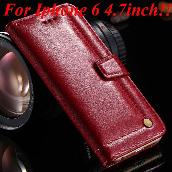 I6 Full Wallet Case For Iphone 6 4.7Inch Genuine Leather Cover Wit 32236279782-2-red
