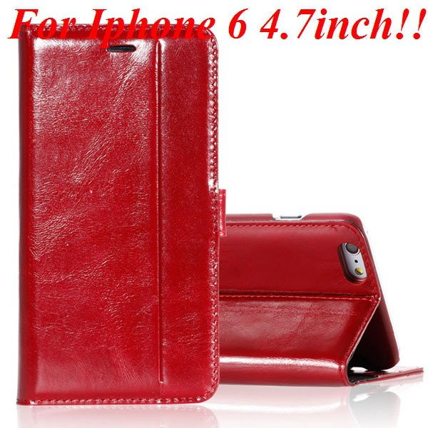 I6 Genuine Leather Case Flip Cover For Iphone 6 4.7Inch Full Pouch 32236273852-2-red