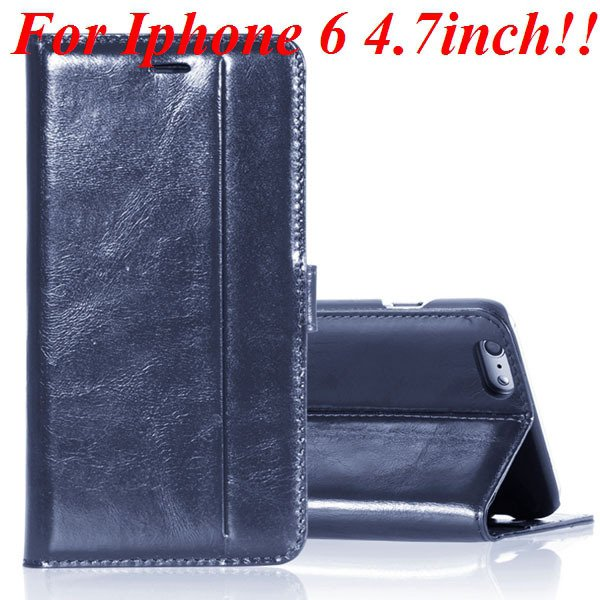 I6 Genuine Leather Case Flip Cover For Iphone 6 4.7Inch Full Pouch 32236273852-3-blue