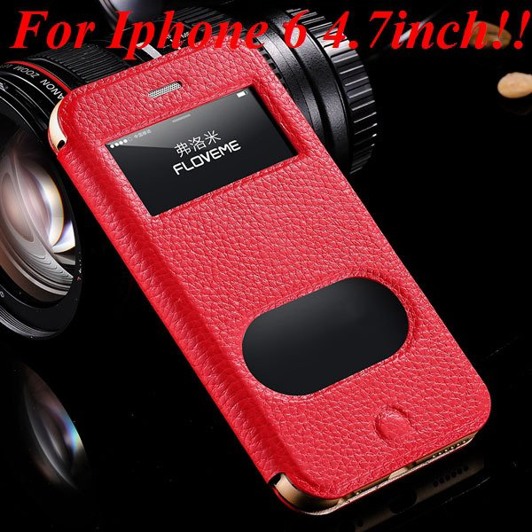 I6/6 Plus Dual Window Case Luxury Genuine Leather Cover For Iphone 32289636912-2-red for iphone 6