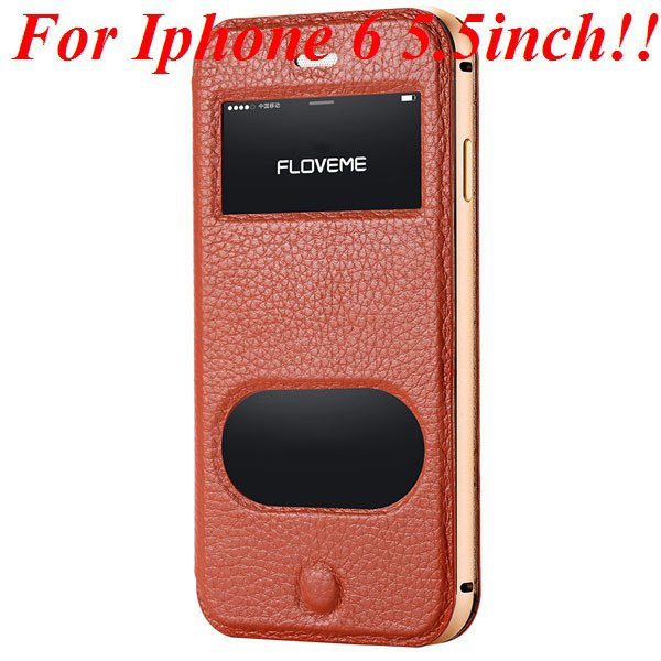 I6/6 Plus Dual Window Case Luxury Genuine Leather Cover For Iphone 32289636912-8-brown for plus