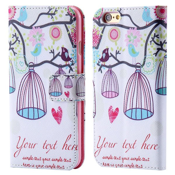 Lovely Animal Mat Print Full Cover For Iphone 6 Plus 5.5Inch Leath 32247887067-4-bridcage
