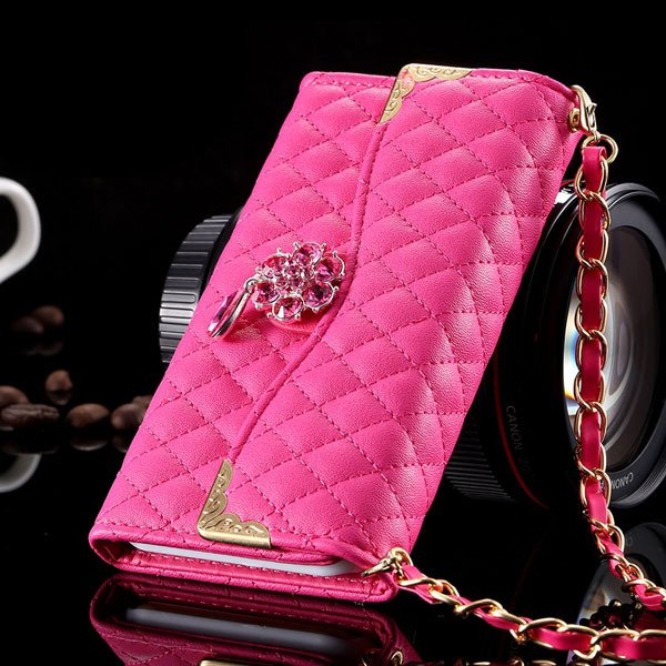Luxury Crystal Diamond Full Flip Pu Leather Cover For Iphone 6 4.7 32223328318-6-hot pink