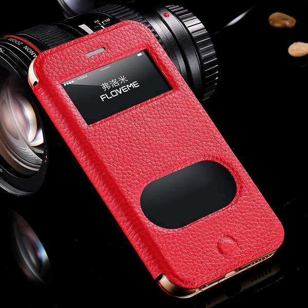 I6 Deluxe Genuine Leather Case Window View Cover For Iphone 6 4.7I 32288707530-2-red