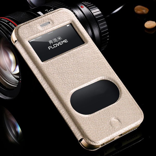 I6 Deluxe Genuine Leather Case Window View Cover For Iphone 6 4.7I 32288707530-3-gold
