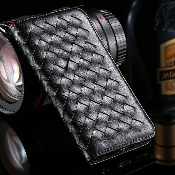I6 Plus Weaving Case Flip Magnetic Wallet Cover For Iphone 6 Plus  32270054437-1-black