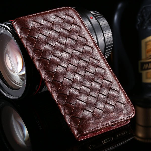 I6 Plus Weaving Case Flip Magnetic Wallet Cover For Iphone 6 Plus  32270054437-5-brown