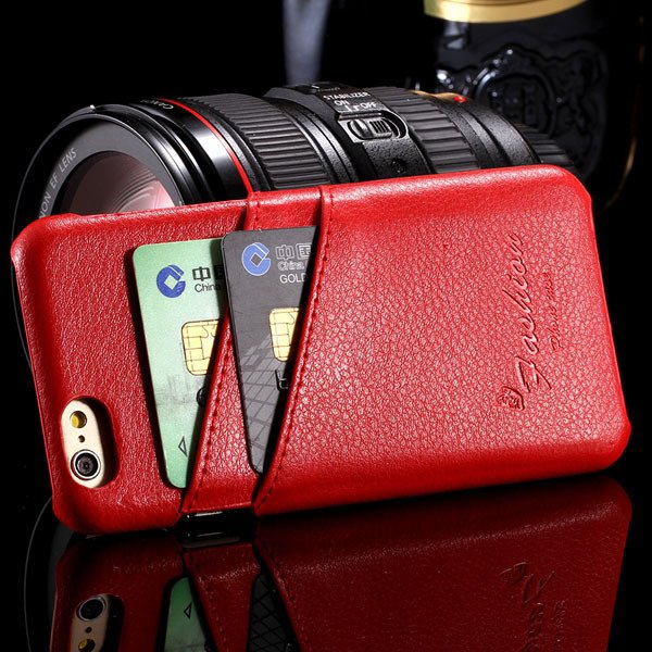 I6 Plus Genuine Leather Case Card Insert Back Cover For Iphone 6 P 32268139085-3-red