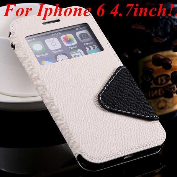 I6 Plus Window Case Pu Leather View Cover For Iphone 6 4.7Inch/5.5 32268160034-3-white for iphone 6