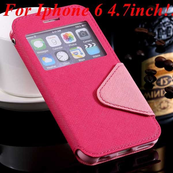I6 Plus Window Case Pu Leather View Cover For Iphone 6 4.7Inch/5.5 32268160034-4-hot pink for iphone