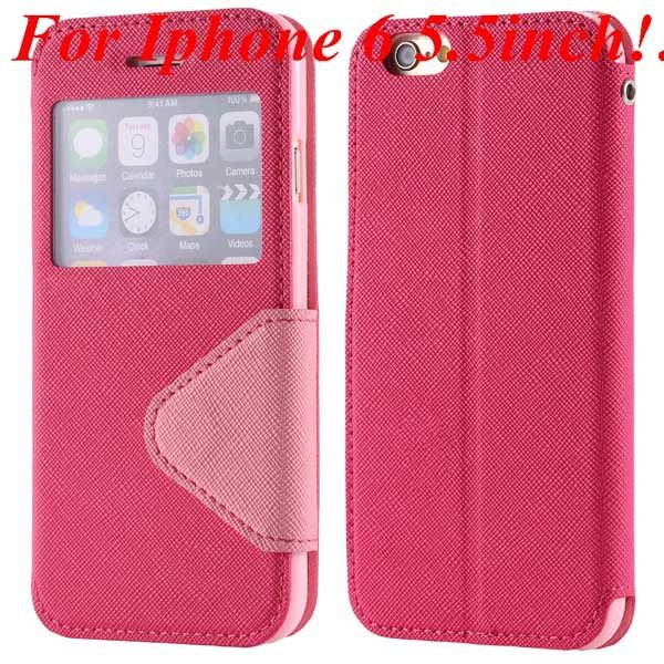 I6 Plus Window Case Pu Leather View Cover For Iphone 6 4.7Inch/5.5 32268160034-10-hot pink for plus