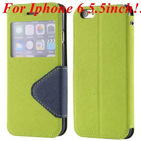 I6 Plus Window Case Pu Leather View Cover For Iphone 6 4.7Inch/5.5 32268160034-11-green for plus
