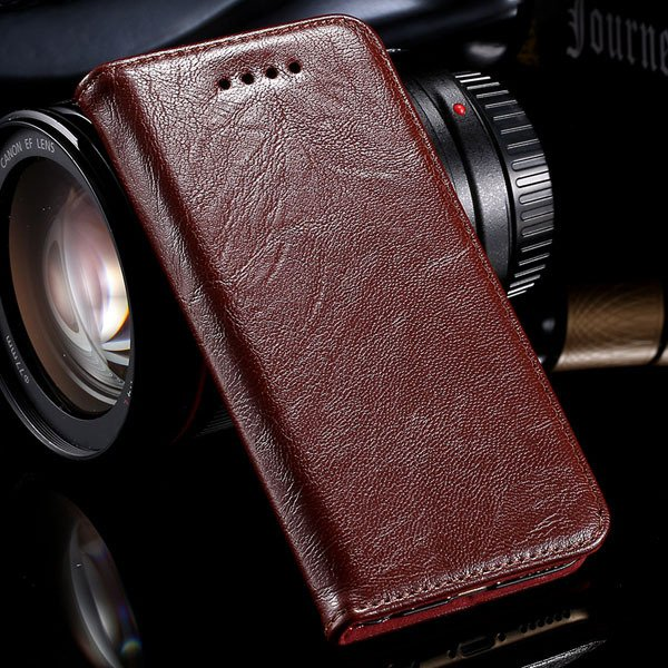 Genuine Leather Magnetic Flip Case For Iphone 6 4.7Inch Full Phone 32250358673-1-brown