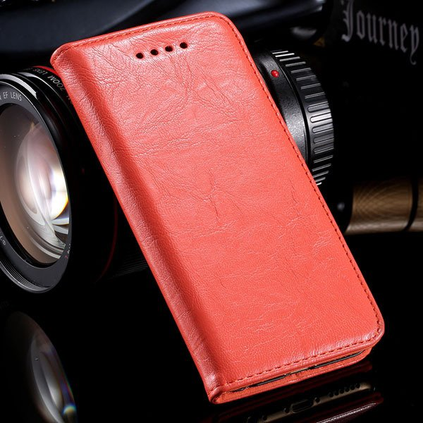 Genuine Leather Magnetic Flip Case For Iphone 6 4.7Inch Full Phone 32250358673-2-orange