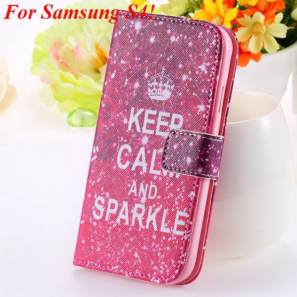 Colorful Mat Pattern Wallet Case For Samsung Galaxy S4 I9500 S5 I9 1925779940-5-s4 hot pink crown