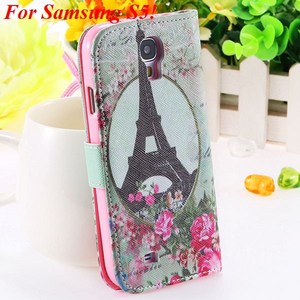 Colorful Mat Pattern Wallet Case For Samsung Galaxy S4 I9500 S5 I9 1925779940-10-S5 flower towl