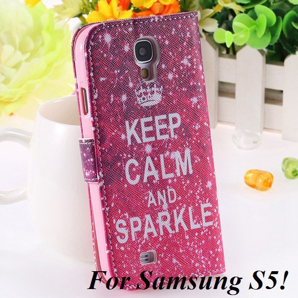 Colorful Mat Pattern Wallet Case For Samsung Galaxy S4 I9500 S5 I9 1925779940-14-S5 hot pink crown