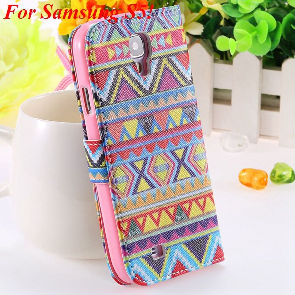 Colorful Mat Pattern Wallet Case For Samsung Galaxy S4 I9500 S5 I9 1925779940-18-S5 big culture