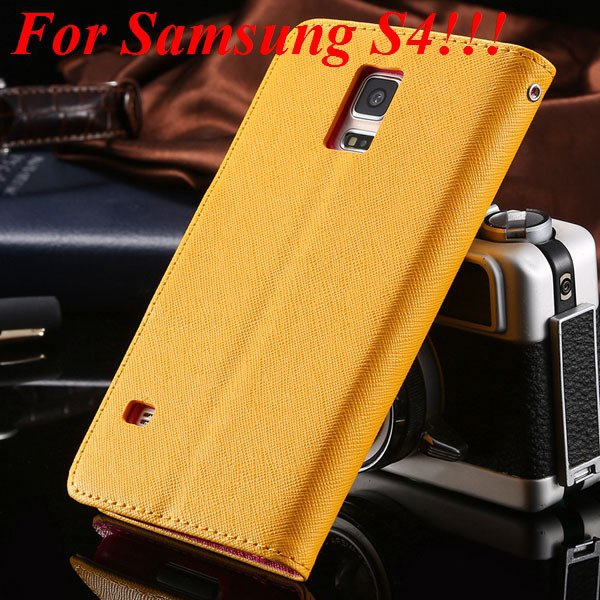 Flip Full Pu Leather Cover Case For Samsung Galaxy S5 I9600 S4 I95 1778570122-2-yellow for s4