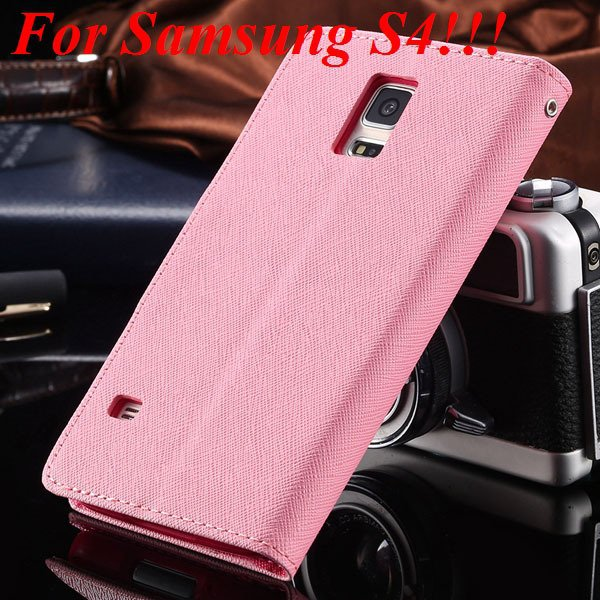 Flip Full Pu Leather Cover Case For Samsung Galaxy S5 I9600 S4 I95 1778570122-3-pink for s4