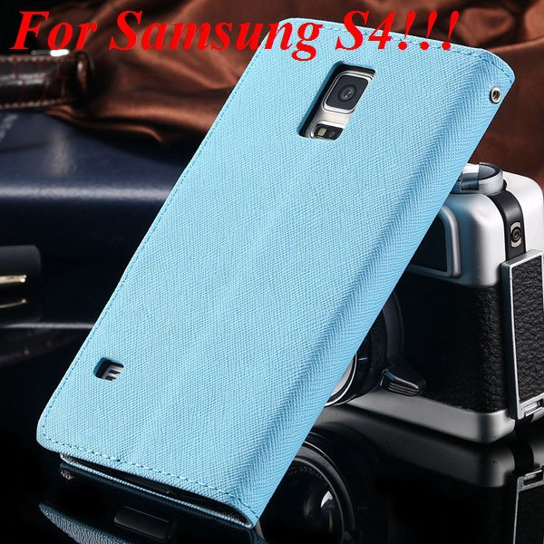 Flip Full Pu Leather Cover Case For Samsung Galaxy S5 I9600 S4 I95 1778570122-6-sky blue for s4
