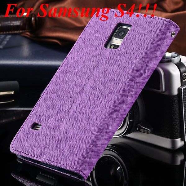 Flip Full Pu Leather Cover Case For Samsung Galaxy S5 I9600 S4 I95 1778570122-7-purple for s4
