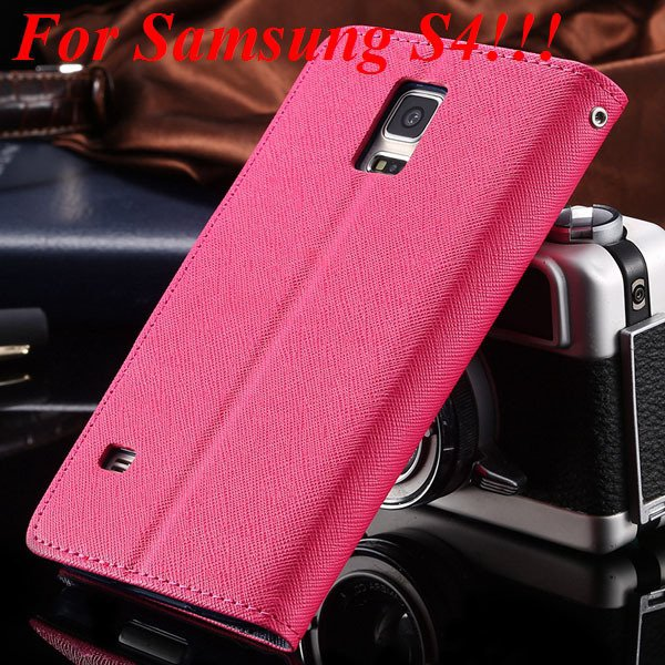 Flip Full Pu Leather Cover Case For Samsung Galaxy S5 I9600 S4 I95 1778570122-9-hot pink for s4