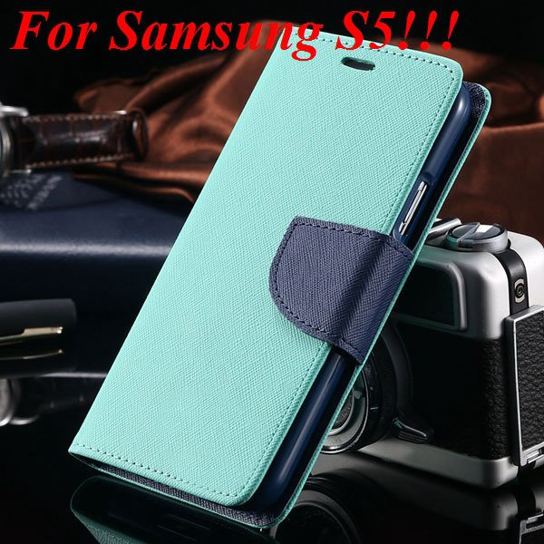 Flip Full Pu Leather Cover Case For Samsung Galaxy S5 I9600 S4 I95 1778570122-12-mint  for s5