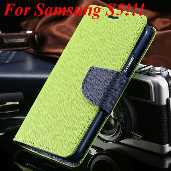 Flip Full Pu Leather Cover Case For Samsung Galaxy S5 I9600 S4 I95 1778570122-15-green for s5