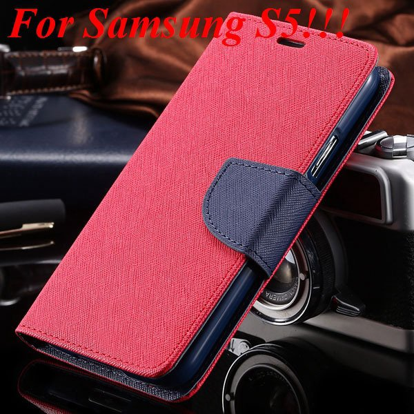 Flip Full Pu Leather Cover Case For Samsung Galaxy S5 I9600 S4 I95 1778570122-17-red for s5