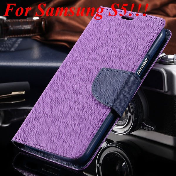 Flip Full Pu Leather Cover Case For Samsung Galaxy S5 I9600 S4 I95 1778570122-20-purple for s5