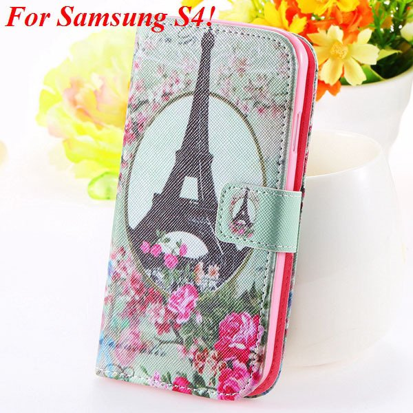 S5 S4 Case Flip Pu Leather Cover For Samsung Galaxy S5 I9600 S4 I9 1925680254-2-s4 flower tower