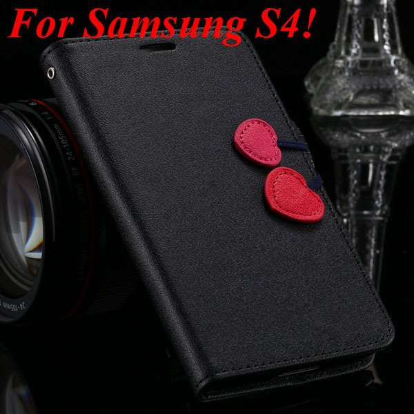 For Samsung S5 S4 S3 Luxury Pu Leather Case Full Protect Cover For 1879055763-6-black for S4