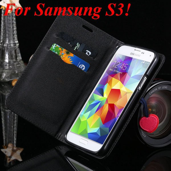 For Samsung S5 S4 S3 Luxury Pu Leather Case Full Protect Cover For 1879055763-7-black for S3