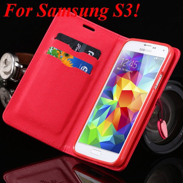 For Samsung S5 S4 S3 Luxury Pu Leather Case Full Protect Cover For 1879055763-9-red for S3
