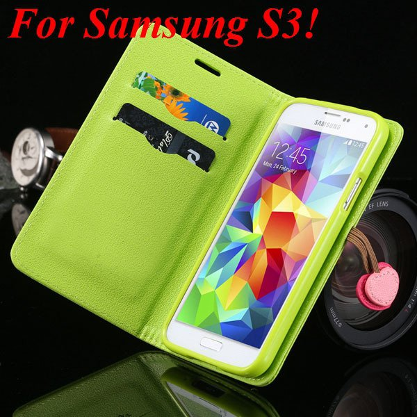For Samsung S5 S4 S3 Luxury Pu Leather Case Full Protect Cover For 1879055763-10-green for S3