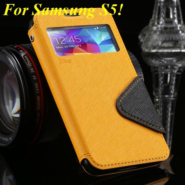 View Case For Samsung Galaxy S4 I9500 S5 I9600 Flip Display Screen 1960771752-2-yellow for S5