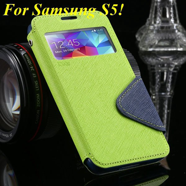 View Case For Samsung Galaxy S4 I9500 S5 I9600 Flip Display Screen 1960771752-4-green for S5
