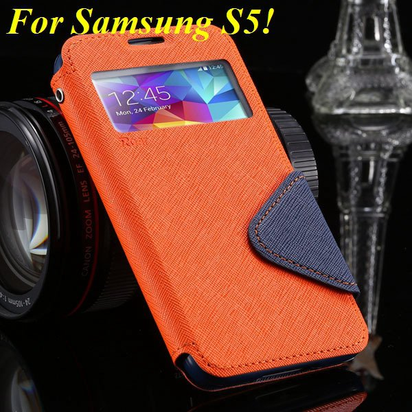 View Case For Samsung Galaxy S4 I9500 S5 I9600 Flip Display Screen 1960771752-9-orange for S5