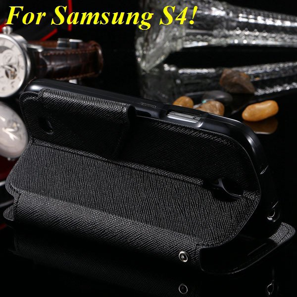 View Case For Samsung Galaxy S4 I9500 S5 I9600 Flip Display Screen 1960771752-10-black for S4