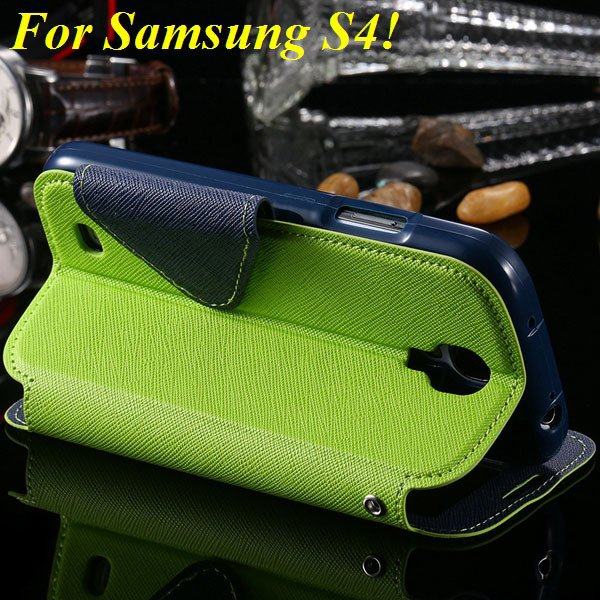 View Case For Samsung Galaxy S4 I9500 S5 I9600 Flip Display Screen 1960771752-18-green for S4