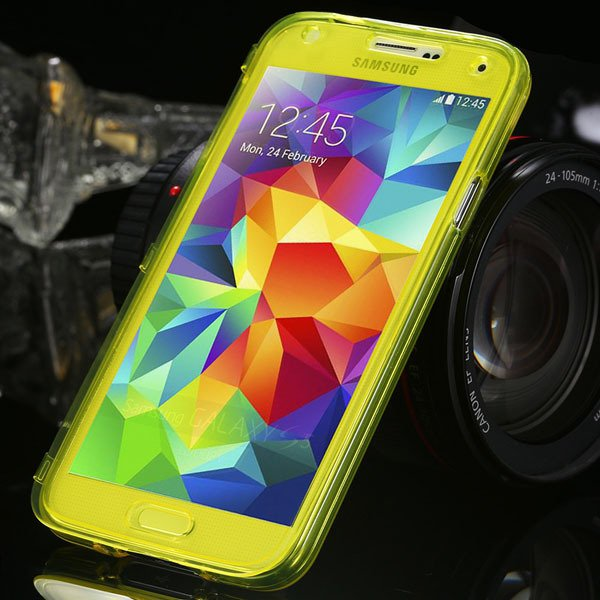 S5 Clear Case Flip Tpu Cover For Samsung Galaxy S5 Sv I9600 Deluxe 1869499191-3-yellow