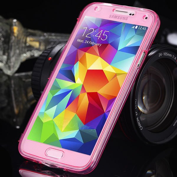 S5 Clear Case Flip Tpu Cover For Samsung Galaxy S5 Sv I9600 Deluxe 1869499191-7-pink