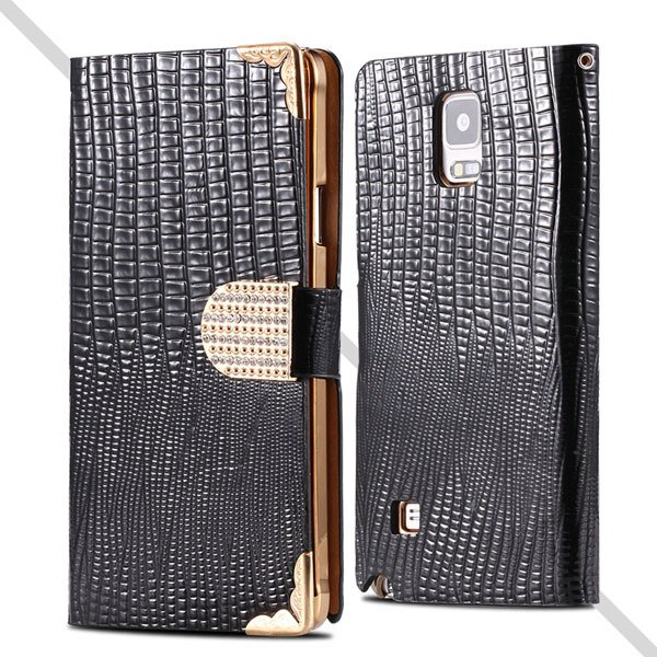 Luxury Bling Diamond Wallet Cover For Samsung Galaxy Note 4 N9100  32245553318-1-black