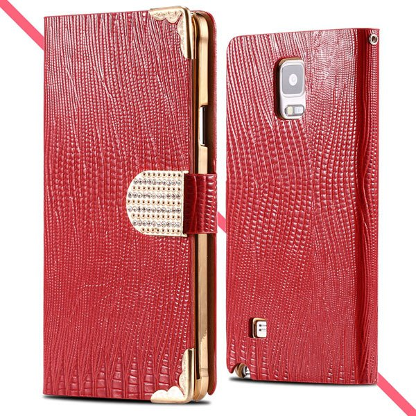 Luxury Bling Diamond Wallet Cover For Samsung Galaxy Note 4 N9100  32245553318-2-red