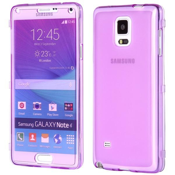 Crystal Transparent Flip Display Cover For Samsung Galaxy Note 4 I 32247405978-6-purple