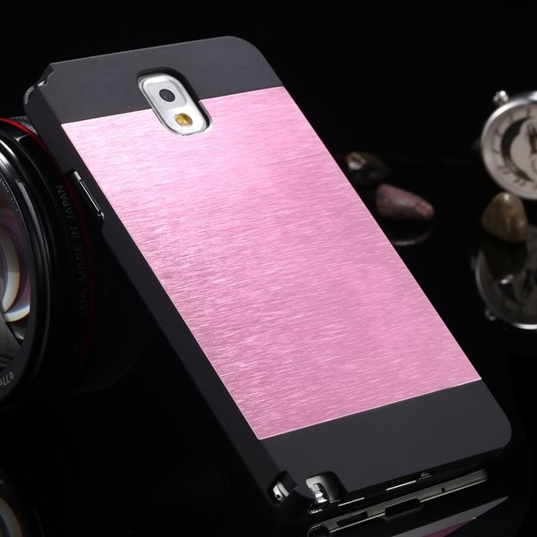 Note 3 Aluminum Case Metal Brush Hard Cover For Samsung Galaxy Not 1893304496-1-black and pink