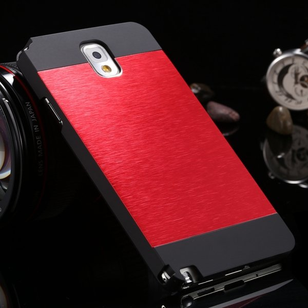 Note 3 Aluminum Case Metal Brush Hard Cover For Samsung Galaxy Not 1893304496-2-black and red