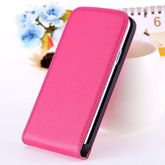 S5 Genuine Leather Case Flip Cover For Samsung Galaxy S5 Sv I9600  1738506719-4-hot pink