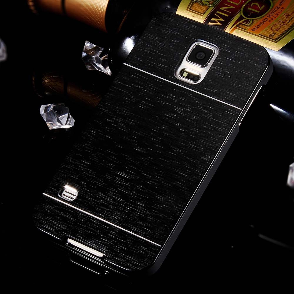 S5 Aluminum Deluxe Gold Metal Brush Back Case For Samsung Galaxy S 32237608035-3-black
